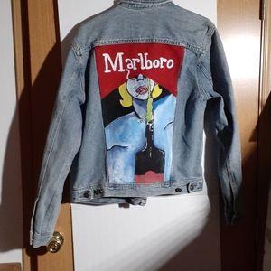 A painted marlboro denim guess jacket